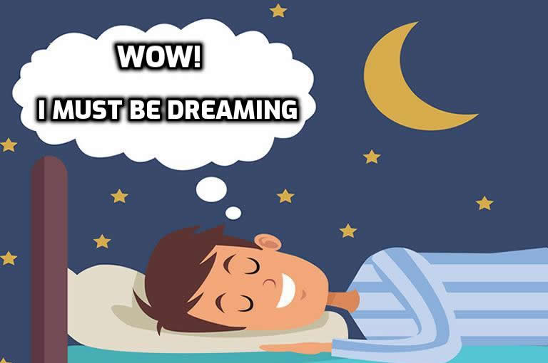 Guy knowing he is in a lucid dream