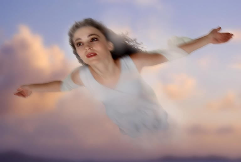 Woman flying in induced lucid dream