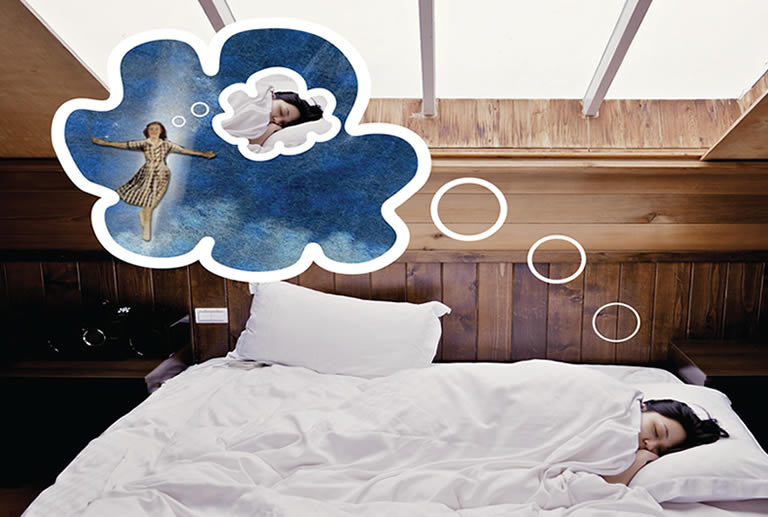 Woman lucid dreaming real life